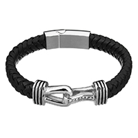 Men Bracelet, Cowhide, with Stainless Steel, for man & with rhinestone & blacken, 44x15x10mm, 33x13x8mm, 11x6mm, Length:Approx 9 Inch, Sold By Strand