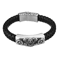 Men Bracelet, Cowhide, with Stainless Steel, Skull, for man & blacken, 43x16x8mm, 35x15x11mm, 11x7mm, Length:Approx 9 Inch, Sold By Strand