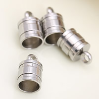 Stainless Steel End Caps, original color, 6.5x10.1mm, Hole:Approx 2mm, Inner Diameter:Approx 6mm, Sold By PC
