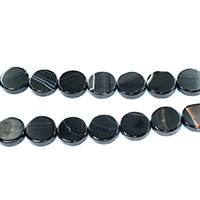 Natural Lace Agate Beads, Flat Round, black, 14x4mm, Hole:Approx 1.2mm, Length:Approx 15.5 Inch, Approx 28PCs/Strand, Sold By Strand