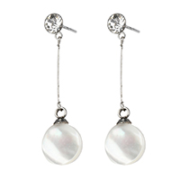 White Shell Earrings, Stainless Steel, with White Shell, Flat Round, natural, with rhinestone, 30mm, 8x11x4mm, Sold By Pair