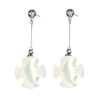 White Shell Earrings, Stainless Steel, with White Shell, Cross, natural, with rhinestone, 36mm, 14.5x17.5x4.5mm, Sold By Pair