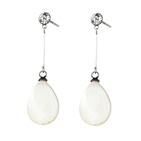 White Shell Earrings, Stainless Steel, with White Shell, Teardrop, natural, with rhinestone, 36mm, 10x17x4mm, Sold By Pair