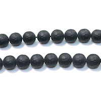 Natural Black Agate Beads, Round, faceted & frosted, 12mm, Hole:Approx 1mm, Length:Approx 16 Inch, Approx 33PCs/Strand, Sold By Strand