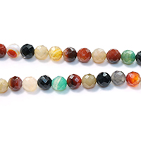 Agate Beads, Round, natural, different size for choice & faceted, mixed colors, Hole:Approx 1-1.5mm, Length:Approx 15 Inch, Sold By Strand