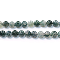 Natural Moss Agate Beads, Round, different size for choice, Hole:Approx 0.5-1.5mm, Length:Approx 15.5 Inch, Sold By Strand
