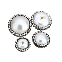 Half Drilled South Sea Shell Beads, with Rhinestone Clay Pave, natural, different size for choice & half-drilled, Hole:Approx 1.5mm, Sold By PC