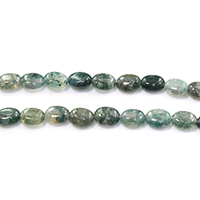 Natural Moss Agate Beads, Flat Oval, 10x8.5x4mm, Hole:Approx 1mm, Length:Approx 15.5 Inch, Approx 40PCs/Strand, Sold By Strand