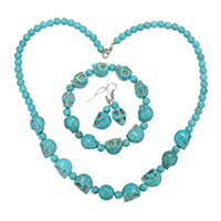 Turquoise Jewelry Sets, Synthetic Turquoise, bracelet & earring & necklace, with Brass, iron earring hook, Skull, platinum color plated, for woman, 14x11x13mm, 5.5x6.5x6.5mm, 11.5x12x12mm, 14x11x13mm, 5.5x6.5x6.5mm, 39mm, 10.5x24x13mm, Length:Approx 8 Inch, Approx 19 Inch, Sold By Set