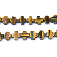Tiger Eye Beads, Cross, natural, 12x12x6mm, Hole:Approx 1mm, Length:Approx 16 Inch, Approx 32PCs/Strand, Sold By Strand