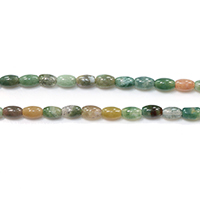 Natural Indian Agate Beads, Oval, 7x4.5x4.5mm, Hole:Approx 0.8mm, Length:Approx 15.5 Inch, Approx 53PCs/Strand, Sold By Strand