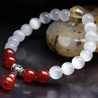 Cats Eye Bracelets, with Red Agate & Clear Quartz & Zinc Alloy, Round, plated, for woman, 8mm, Length:Approx 6.5 Inch, Sold By Strand