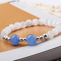 Cats Eye Bracelets, with Dyed Marble & Zinc Alloy, Round, platinum color plated, natural & different size for choice & for woman, Length:Approx 6.5 Inch, Sold By Strand