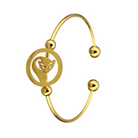 Stainless Steel Cuff Bangle, Fox, gold color plated, open & for woman, 19.5x19.5x1.5mm, 8mm, 2mm, Inner Diameter:Approx 59x47mm, Length:Approx 7 Inch, Sold By PC