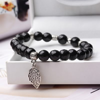 Jet Beads Bracelet, with Zinc Alloy, Leaf, antique silver color plated, charm bracelet & different size for choice & for woman, lead & cadmium free, Length:Approx 6.5 Inch, Sold By Strand