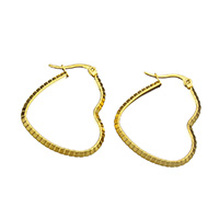 Stainless Steel Hoop Earring, Heart, gold color plated, for woman, 27x32x3mm, Sold By Pair