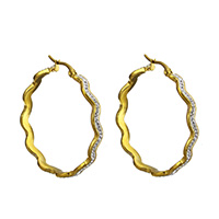 Stainless Steel Hoop Earring, with Rhinestone Clay Pave, Flower, gold color plated, for woman, 5x42x40mm, Sold By Pair