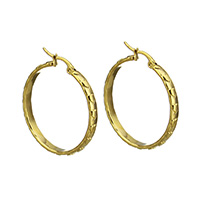Stainless Steel Hoop Earring, gold color plated, for woman, 3.5x34x33mm, Sold By Pair