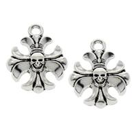 Zinc Alloy Cross Pendants, fleur-de-lis cross, antique silver color plated, lead & cadmium free, 15x19x4mm, Hole:Approx 2mm, Sold By PC