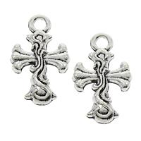 Zinc Alloy Cross Pendants, fleur-de-lis cross, antique silver color plated, lead & cadmium free, 12x20x2mm, Hole:Approx 2mm, 2000PCs/Bag, Sold By Bag