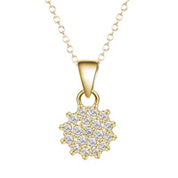 Cubic Zircon Micro Pave Brass Necklace, Flower, real gold plated, oval chain & micro pave cubic zirconia & for woman, lead & cadmium free, 40cm, Length:Approx 15.5 Inch, Sold By Strand