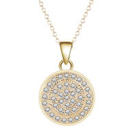 Cubic Zircon Micro Pave Brass Necklace, Flat Round, real gold plated, oval chain & micro pave cubic zirconia & for woman, lead & cadmium free, 40cm, Length:Approx 15.5 Inch, Sold By Strand