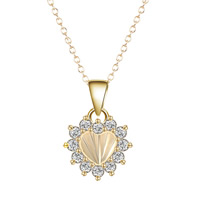 Cubic Zircon Micro Pave Brass Necklace, Heart, real gold plated, oval chain & micro pave cubic zirconia & for woman, lead & cadmium free, 40cm, Length:Approx 15.5 Inch, Sold By Strand