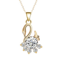 Cubic Zircon Micro Pave Brass Necklace, Swan, real gold plated, oval chain & micro pave cubic zirconia & for woman, lead & cadmium free, 40cm, Length:Approx 15.5 Inch, Sold By Strand