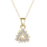 Cubic Zircon Micro Pave Brass Necklace, Triangle, real gold plated, oval chain & micro pave cubic zirconia & for woman, lead & cadmium free, 40cm, Length:Approx 15.5 Inch, Sold By Strand