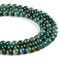 Natural Moss Agate Beads, Round, different size for choice, Hole:Approx 1mm, Length:Approx 15 Inch, Sold By Strand