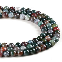 Natural Indian Agate Beads, Round, different size for choice, Hole:Approx 1mm, Length:Approx 15 Inch, Sold By Strand
