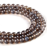 Natural Grey Agate Beads, Round, different size for choice, Hole:Approx 1mm, Length:Approx 15 Inch, Sold By Strand