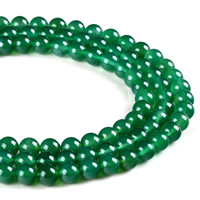 Natural Green Agate Beads, Round, different size for choice, Hole:Approx 1mm, Length:Approx 15 Inch, Sold By Strand