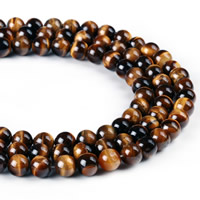 Tiger Eye Beads, Round, natural, different size for choice, Hole:Approx 1mm, Length:Approx 15 Inch, Sold By Strand