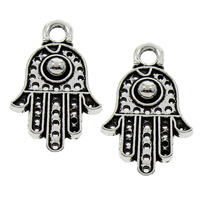 Zinc Alloy Hamsa Pendants, antique silver color plated, lead & cadmium free, 12x20x3mm, Hole:Approx 2mm, 2000PCs/Bag, Sold By Bag
