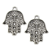Zinc Alloy Hamsa Pendants, antique silver color plated, lead & cadmium free, 22x29x2mm, Hole:Approx 2mm, Sold By PC