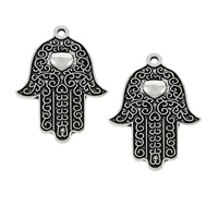 Zinc Alloy Hamsa Pendants, antique silver color plated, lead & cadmium free, 27x39x2mm, Hole:Approx 2mm, Sold By PC