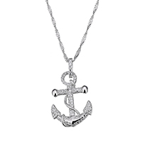 Cubic Zircon Micro Pave Brass Necklace, Anchor, platinum plated, micro pave cubic zirconia & for woman, 19x27x3mm, 2x0.5mm, Length:Approx 18 Inch, Sold By Strand