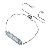 Cubic Zirconia Micro Pave Brass Bracelet, Rectangle, platinum plated, box chain & micro pave cubic zirconia & for woman, 35x8x3mm, 1mm, 8x3.5x8mm, Length:Approx 10 Inch, Sold By Strand