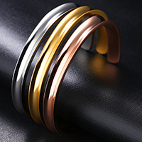Stainless Steel Cuff Bangle, plated, attached with three hair bands & for woman, more colors for choice, 7mm, Inner Diameter:Approx 59mm, Length:Approx 7.2 Inch, Sold By PC