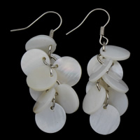White Shell Earrings, Brass, with White Shell, platinum color plated, nickel, lead & cadmium free, 17x42mm, Sold By Pair