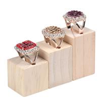 Wood Ring Display, Rectangle, 50x30x30mm, 40x30x30mm, 30x30x30mm, 3PCs/Set, Sold By Set