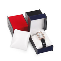 Plastic Watch Box, with PU & Velveteen, Rectangle, more colors for choice, 73x97x55mm, Sold By PC