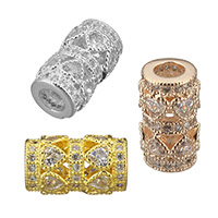 Cubic Zirconia Micro Pave Brass European Bead, Column, plated, micro pave cubic zirconia & hollow, more colors for choice, 14x8x8mm, Hole:Approx 4mm, Sold By PC