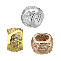 Cubic Zirconia Micro Pave Brass European Bead, Rondelle, plated, micro pave cubic zirconia, more colors for choice, 6.5x10x10mm, Hole:Approx 6mm, Sold By PC