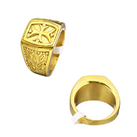 Stainless Steel Finger Ring, gold color plated, with cross pattern, 16mm, US Ring Size:12, Sold By PC