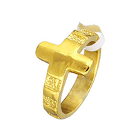 Stainless Steel Finger Ring, Cross, gold color plated, 14mm, US Ring Size:8, Sold By PC