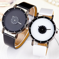 Unisex Wrist Watch, PU, with Glass & Zinc Alloy, plated, adjustable, more colors for choice, 38x8mm, Length:Approx 8.6 Inch, Sold By PC