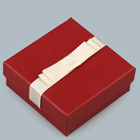 Cardboard Necklace Box, with Sponge & Satin Ribbon, Square, red, 60x60x25mm, Sold By PC
