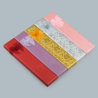 Cardboard Necklace Box, with Gauze & Sponge, Rectangle, different designs for choice, more colors for choice, 205x45x20mm, Sold By PC